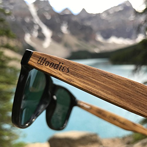 f57f591f1463a WOODIES Zebra Wood Wayfarer Sunglasses with Black Polarized Lenses