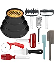 welltop Pizza Making Tool Kit - 13-Piece Pizza Utensils Set - Including Pizza Pan, Rolling Pin, Pizza Cutter, Pizza Spatula, etc - Ideal for Baking Dough, Pizza, Pie, Pastries, Pasta and Cookies