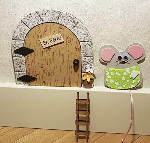 Puerta mágica Ratoncito Pérez que se abre, MADERA NATURAL, incluye ratón guardadientes y escalera.: Amazon.es: Handmade