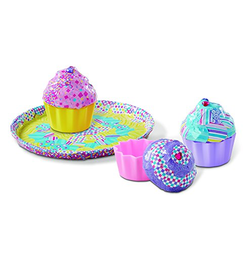 Paper Mache Kits - Melissa & Doug Decoupage Made Easy Cupcake Paper Mache Deluxe Craft Kit With Stickers (3 Trinket Boxes, Tray)