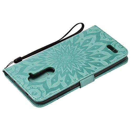 YHUISEN ZTE Z981 caso, diseño de la impresión de la flor del sol Caja de cuero del tirón de la PU de la PU del tirón con la ranura para tarjeta / soporte para ZTE Zmax Pro / Z981 ( Color : Blue ) Green