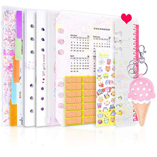 - Larcenciel A5 6-Ring Binder Notebook Sequin Journal Refillable Loose Leaf Binder, 1PVC Notepad Cover+ 2019 Calendar and Planner Stickers Accessories w/ 80 Insert Pages(Dot Grid/Ruled) (A5)