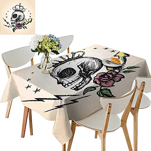 UHOO2018 Printed Fabric Tablecloth Square/Rectangle Mexican Folk Art Inspired Skeleton with Crown and Rose Halloween Artsy Design Yellow Wedding Party Restaurant,54 x102inch for $<!--$39.99-->