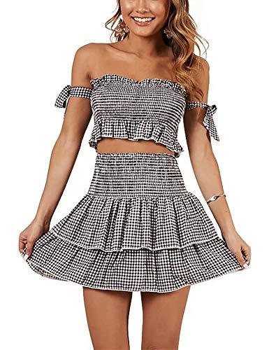 Relipop Women's Two-Piece Outfit Dresses Off Shoulder High Waist Ruffle Plaid Layered Short Mini Skirt Dress