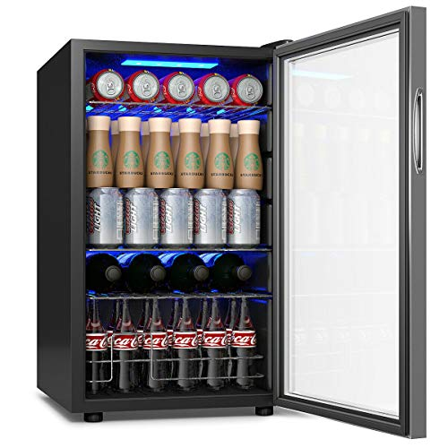 "COSTWAY Beverage Refrigerator and Cooler, 76 Can Mini Fridge with Glass Door for Soda Beer or Wine Small Drink Dispenser Machine for Office or Bar (17""x 17.5""x29"")"