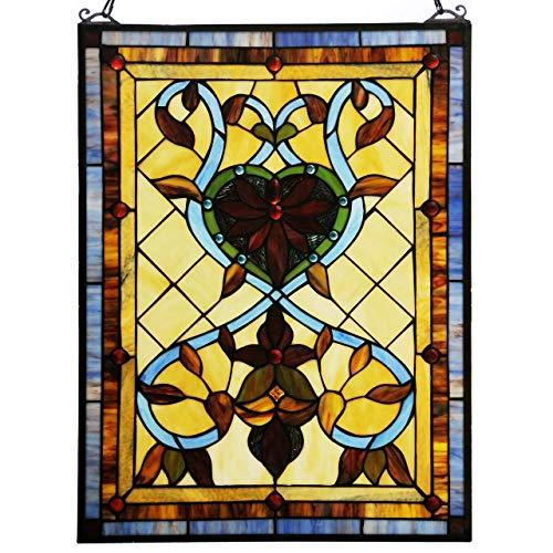 (Bieye W10032 25 inch Fiery Heart and Flower Tiffany Style Stained Glass Window Panel with Chain, Orange, 25