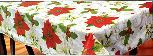 Premium Quality Christmas Vinyl Tablecloth Flannel Backed, Thicker, Last Longer, Stain Resistant - Poinsettia and Golden Threads Theme (54 X 72 RECTANGULAR) (Tablecloths Vinyl Christmas)