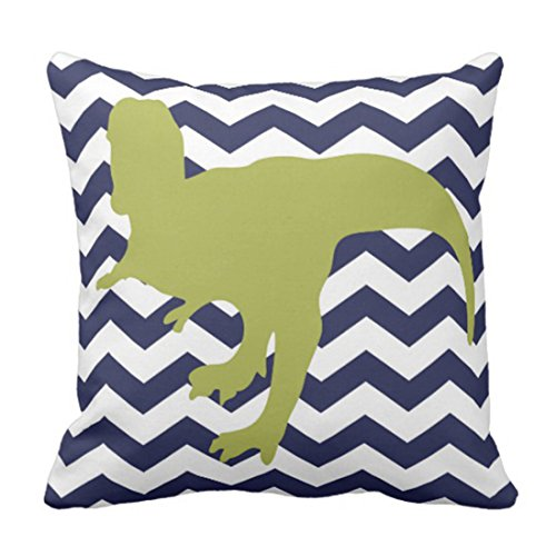 TORASS Throw Pillow Cover Stripes Chevron Rawr Means I Love You in Dinosaur Gray Dino Decorative Pillow Case Home Decor Square 16 x 16 Inch Pillowcase
