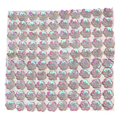MOPOLIS 100pcs/Set Cupped Sequins Beads Flower Embellishments for Sewing Crafts DIY 20mm | Color - White