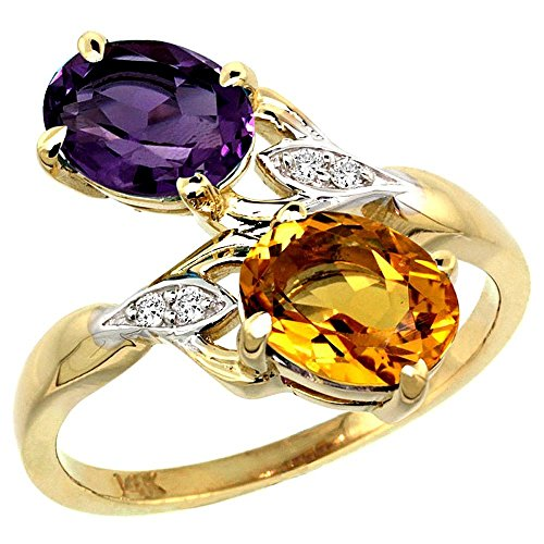 Oval Citrine Diamond Accent Ring - 10K Yellow Gold Amethyst & Citrine 2-stone Mother's Ring Oval 8x6mm Diamond Accents, 3/4 inch wide, size 7