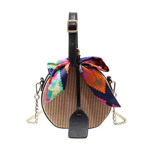 2018 nouvelle paille petit sac rond, sac à main de mode, sac tissé par ruban, sac de messager d'épaule, sac de plage (opp) Noir