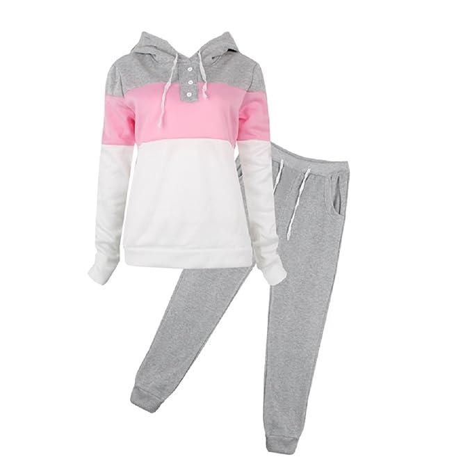815470189 SCASTOE 2Pcs Womens Hoodies Sport Tops Pants Tracksuit Sweatshirt Sweat  Suit Jogging Set (S,