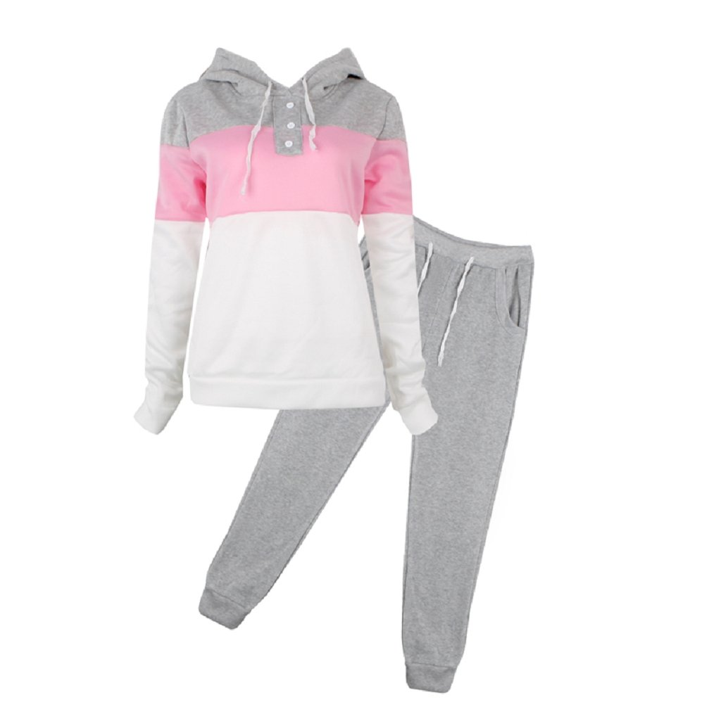 SCASTOE 2Pcs Womens Hoodies Sport Tops Pants Tracksuit Sweatshirt Sweat Suit Jogging Set (XL, Gray)
