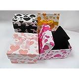 Boîte Bijoux Carré Motif Coeurs Avec Noeud x 5 - Pour Bagues Bracelets Colliers