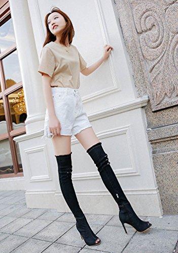 Maybest Vrouwen Denim Dij Hoge Hak Laarzen Overknie Peep Toe Laarzen Gescheurde Stretch Jeans Stiletto Party Schoenen Zwart