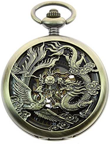 ZIJAE Mens Antique Phoenix and Dragon Roman Number Dial Skeleton Mechanical Pocket Watch