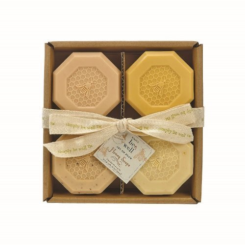 Simply Be Well Organics (Plant Based) Set of Four Honey Bar Soap Set - Gift Box Individual Soaps - Honey, Honey Aloe, Honey Oatmeal & Honey Almond 4 OZ each by Simply Be Well