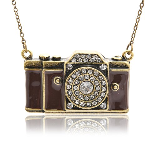 Antique Crystal 35mm Camera Necklace (Brown with Gold)