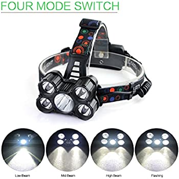30000LM 6 Modes 5x XM-L T6 LED Rechargeable 18650 Headlamp Head Light Torch
