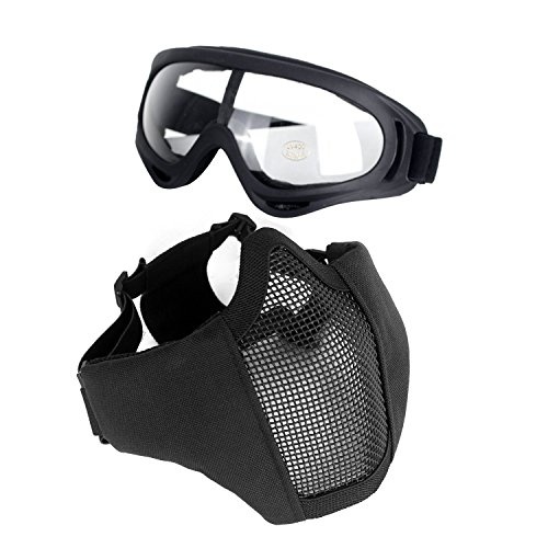 Unigear Airsoft Half Face Masks Steel Mesh Mask with Goggles Set for Hunting, Paintball, Shooting (Black)