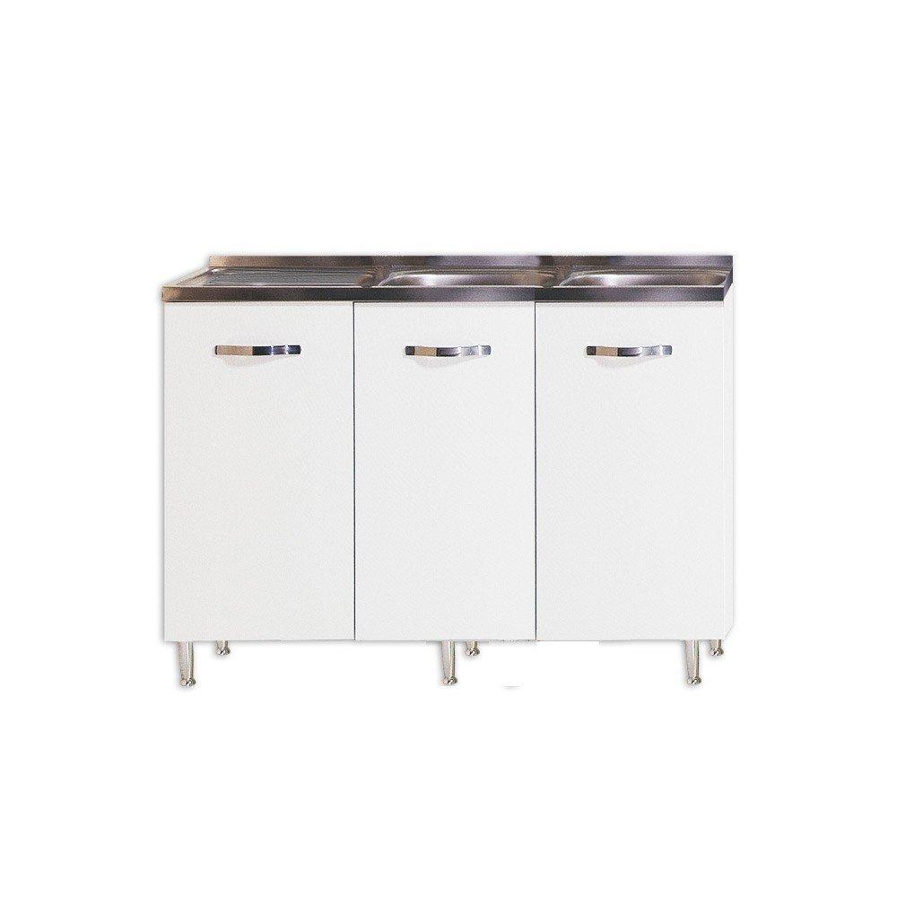 Sottolavello per cucina colore bianco Cm 120x50xH 85 con 3 ante WEBMARKETPOINT