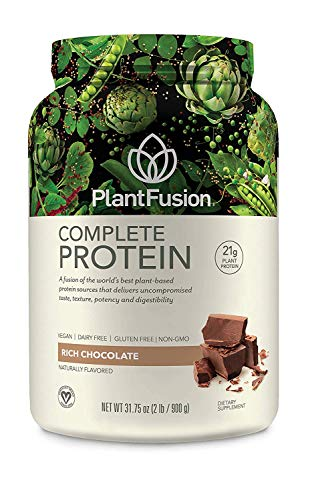PlantFusion Complete Plant Based Pea Protein Powder, Non-GMO, Vegan, Dairy Free, Gluten Free, Soy Free, Allergy Free w/Digestive Enzymes, Dietary Supplement, Chocolate, (30 Servings) 2 Pound