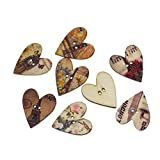 Souarts Mixed Random Brown Heart Shape 2 Holes Wooden Buttons for Sewing Crafting Pack of 50pcs