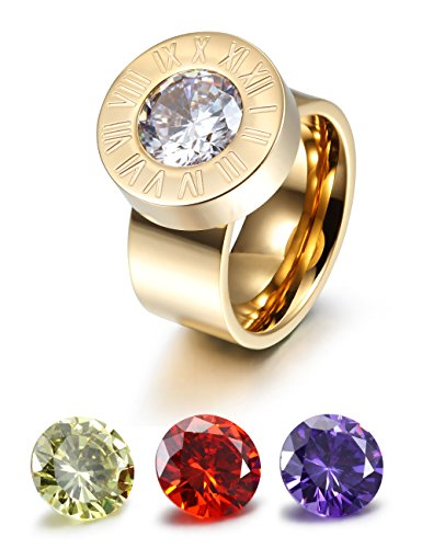 CIUNOFOR Wide Band Enhancer Ring for Women Yellow Red Purple White CZ Ring Gold Rose Gold Plated Stainless Steel Ring by CIUNOFOR