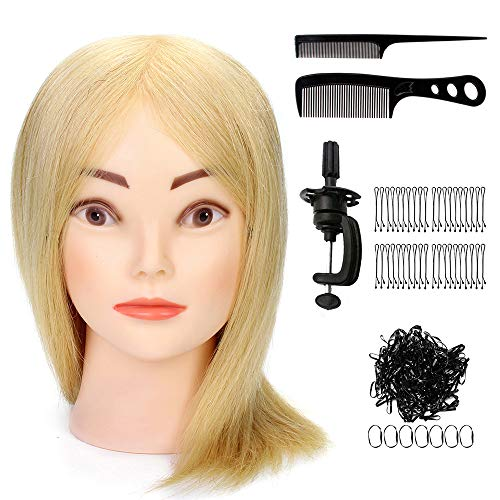 Tfmox Training Head 16'' Hair Hairdressing Training Head Hairstyle Design Braiding Curling Hairstyle Doll + Clamp Mannequin