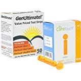 Genultimate Blood Glucose Test Strips for Use with One Touch Meter , 50 Strips with 100 Lancets by Care Touch