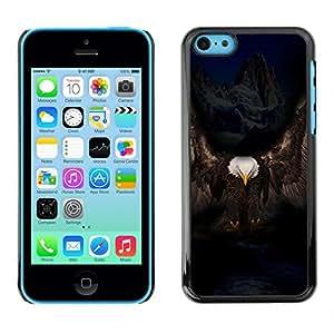 TECHCASE**Cubierta de la caja de protección la piel dura para el ** Apple iPhone 5C ** Eagle Majestic Black Bird Mountains Alaska