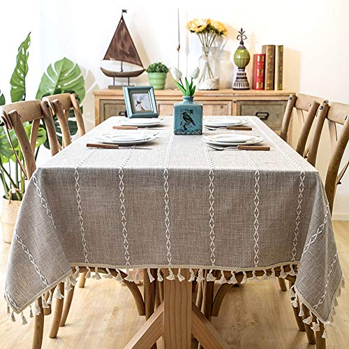 Lahome Embroidery Stripe Tassel Tablecloth -Heavy Weight Cotton Linen Washable Table Cover for Kitchen Dining Room Restaurant Party Decoration (Linen, Rectangle - 55