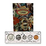 1988 Year Coin Set & Greeting Card : 30th Anniversary Gift - Our Wedding Year
