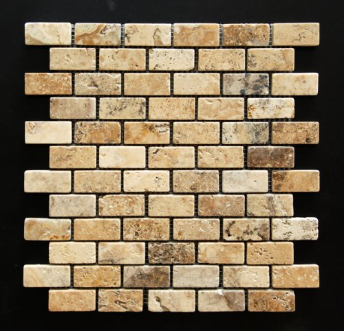 Philadelphia 1 X 2 Tumbled Travertine Brick Mosaic Tile - Box of 5 sq. ft.