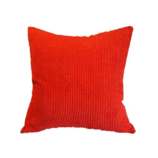 Cosanter Funda de Almohada Simple en Color Liso Funda de Cojín Cuadrado Suave Sofá Coche Decoración del Hogar Funda de Cojín Rojo 45*45CM