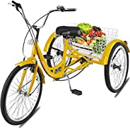 Nie Adult Tricycle 1 Speed 7 Speed Size Cruise Bike 20 Inch Adjustable Trike with Bell, Brake System Cruiser B