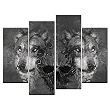 SmartWallArt - Animal Paintings Wall Art two Wolves and Skull Head Tattoo Design Over Grey Background Textured Backdrop 4 Panel Picture Print on Canvas for Modern Home Decoration