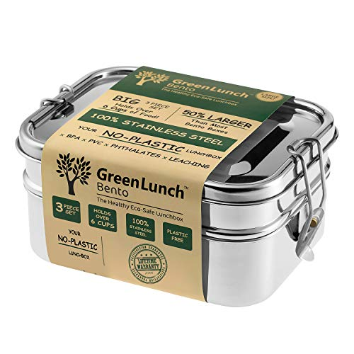 (Stainless Steel 3-in-1 Bento Lunch Box + FREE LIFE-TIME WARRANTY | Holds 6 Cups of Food + BONUS Pod Insert | TOP-GRADE Durable Stainless Steel | ECO-Safe & Healthy | Perfect for both Kids + Adults)