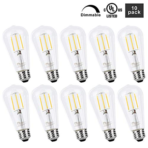 Mastery Mart Vintage LED Light Bulb, Clear Glass ST21 Antique Edison Bulb, Dimmable 5.5W (60W Equivalent), 500LM 4000K Cool White, E26 Base Decorative Filament Bulbs, UL Listed, 10 Pack
