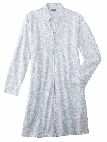 Laura Scott Womens Pastel Blue Floral Print Duster Robe Knit Housecoat (Print Knit Duster)