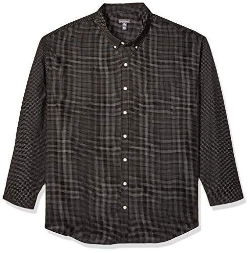 (Van Heusen Men's Size Big and Tall Wrinkle Free Poplin Long Sleeve Button Down Shirt, Black Plaid, X-Large)
