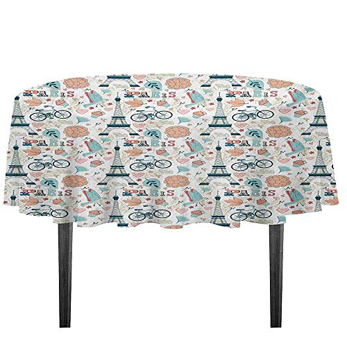 kangkaishi Paris Waterproof Anti-Wrinkle no Pollution Cupcake Eiffel Tower Flowers Falling Leaves Love Grungy Autumn in France Theme Table Cloth D35.4 Inch Multicolor