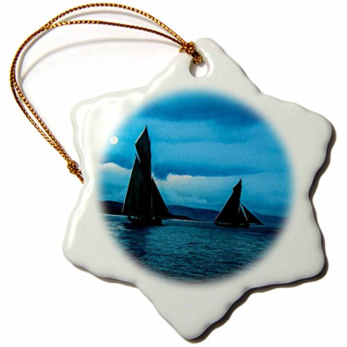 Glasgow Hanging - 3dRose Scenes from The Past Magic Lantern - Vintage Yachting on River Clyde Glasgow Scotland 1890 Magic Lantern - 3 inch Snowflake Porcelain Ornament (ORN_246344_1)