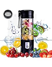 USB Electric Safety Juicer Cup, Fruit Juice Mixer, Travel Blender,Mini Portable Rechargeable/Juicing Mixing Crush Ice Blender Mixer,420ml Water Bottle (Black)
