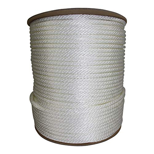 Halyard Rope - Solid Braid Dacron Polyester Flag Pole Rope - SGT KNOTS - Braided Halyard Line/Flagpole Rope - for Sailboats, Sailing, Rigging, Flag Flying ((#8) 1/4 in x 500 ft, White) ()