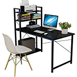 Smilee Home Office Desk with Shelves, 120cm Computer Desk Workstation, Sturdy Metal Frame Compact Studying Table for…