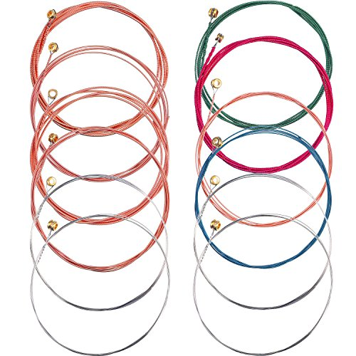 Bememo 2 Sets of 6 Guitar Strings Replacement Steel String for Acoustic Guitar (1 Copper Set and 1 Multicolor Set)