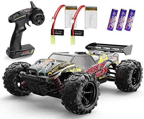 1/18 Remote Control Car, 4WD Electric High Speed Off-Road RC Monster Car 30+MPH 2.4 Ghz All Terrains RC Vehicle Truck Toys, with 2 Rechargeable Batteries for 40+ Min Play, Gift for Boys Teens Adults