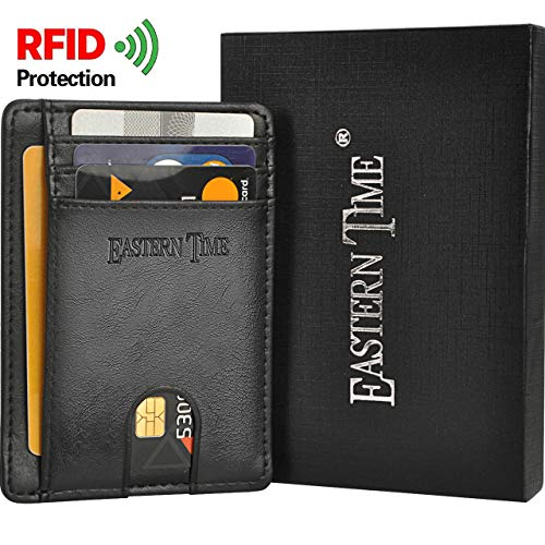 RFID-Wallets-for-Men-Thin Wallet Front Pocket Minimalist Clear ID Window Card Holder(Black)