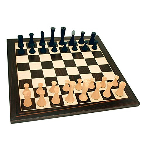 Kari Wood Chess Pieces - Wood Expressions WE Games Grand Modern Chess Set - Weighted Pieces & Black Stained Board 19 in.